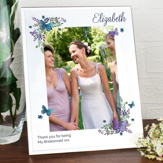 Personalised Butterfly Mirrored Glass Photo Frame