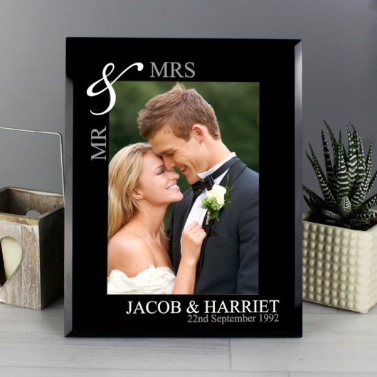 Personalised Couple's Black Glass Photo Frame