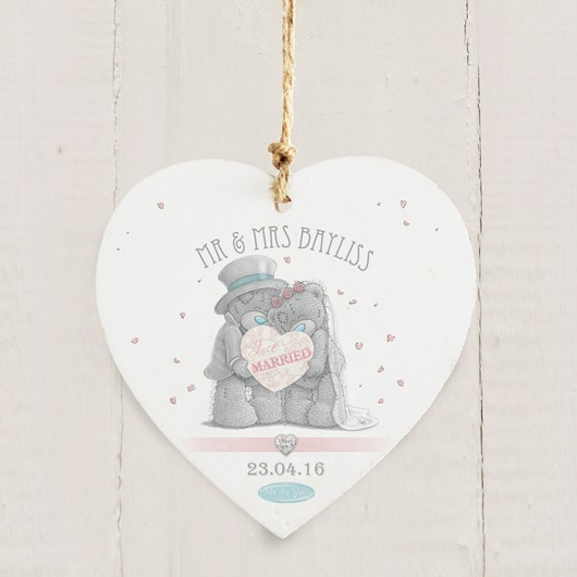 Me To You Wedding Couple Wooden Heart Decoration