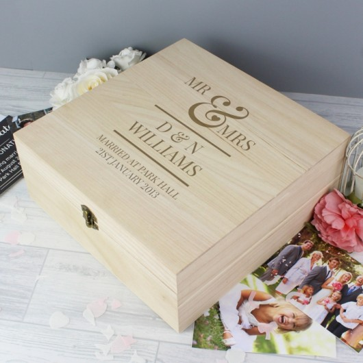 Personalised Mr & Mrs Wooden Keepsake Box