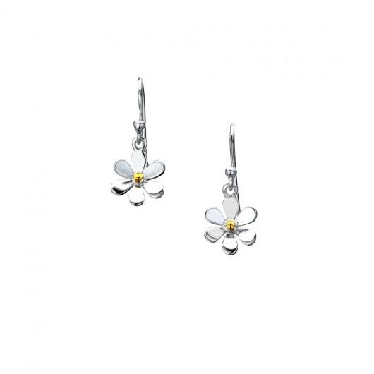 Sea Gems Daisy & Brass Fish Hook Earrings