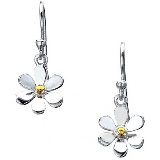 Sterling Silver Single Daisy Drop Earrings