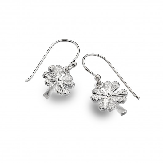 Solid Silver Lucky Four Leaf Clover Hook Earrings