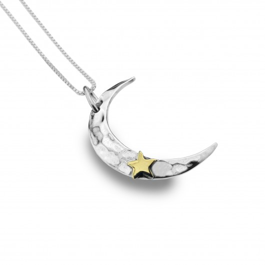 Moon & Star Silver & Brass Necklace