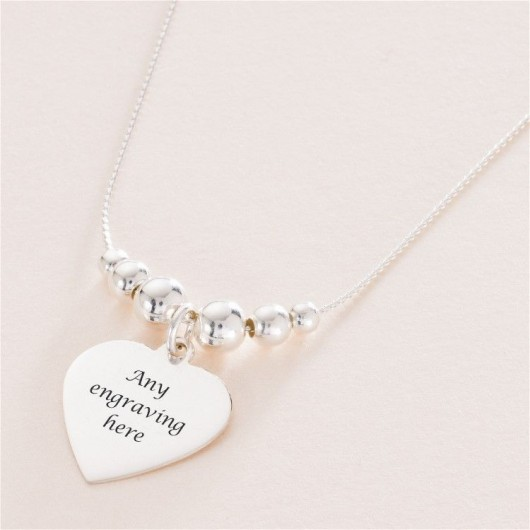 Personalised Silver Heart Bead Necklace