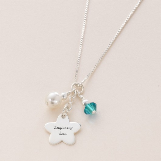 Silver Flower Girl Birthstone Necklace