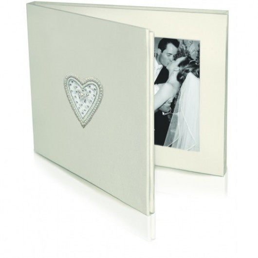Double Photo Frame Beaded Heart