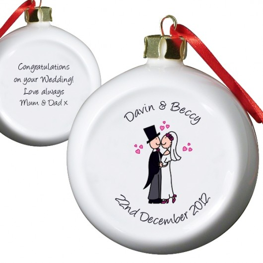 Personalised Wedding Couple Keepsake Bauble