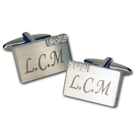 Personalised Metal With Crystal Cufflinks