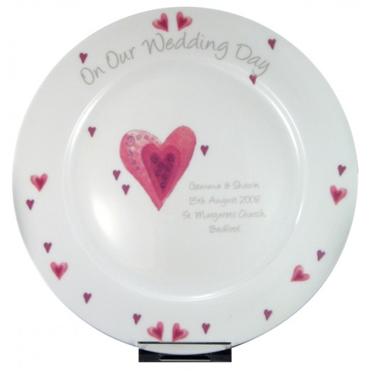 Heart Personalised Wedding Plate