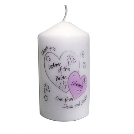 Personalised Butterfly & Hearts Candle