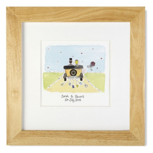 Just Married Personalised Framed Watercolour Print