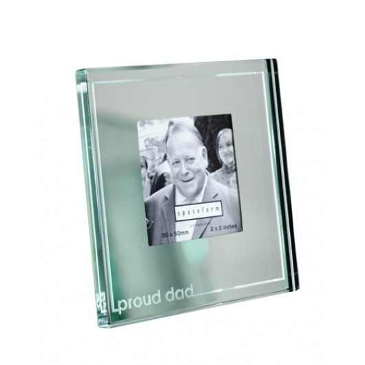 Classic Stripe Mini Mirror 'Proud Dad' Photo Frame
