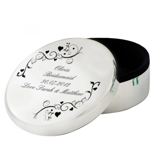 Black Swirl Round Trinket Box