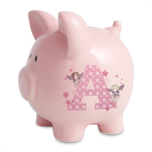 Personalised Fairy Letter Pink Piggy Moneybox