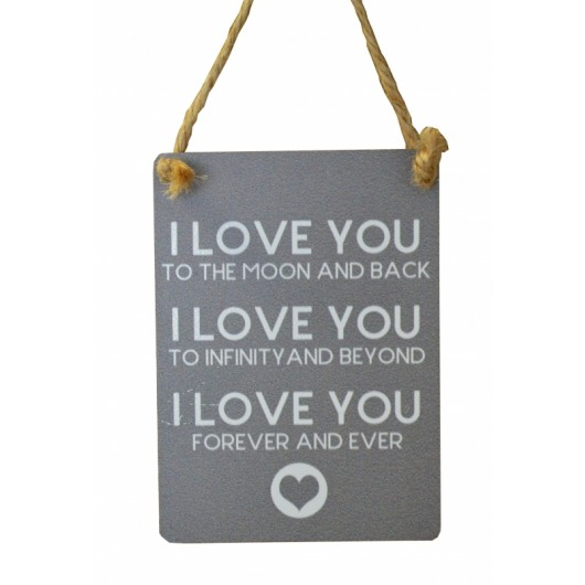 I Love You Mini Grey Metal Sign