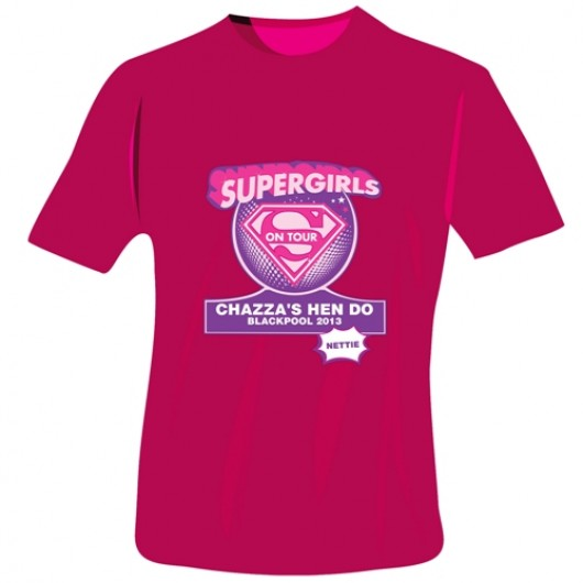Personalised Supergirls Hen Do T-Shirt in Pink