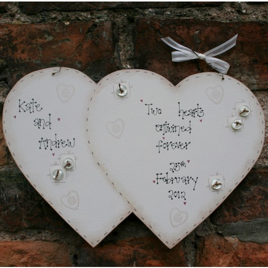 Wooden Entwined Wedding Hearts