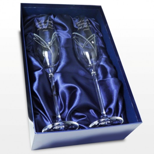 Pair of Personalised Swarovski Champagne Flutes
