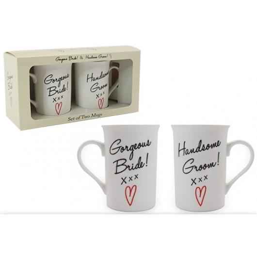 Bride & Groom Fine China Mug Set
