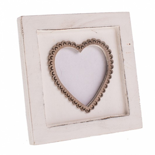 Shabby Chic White Wooden Heart Frame