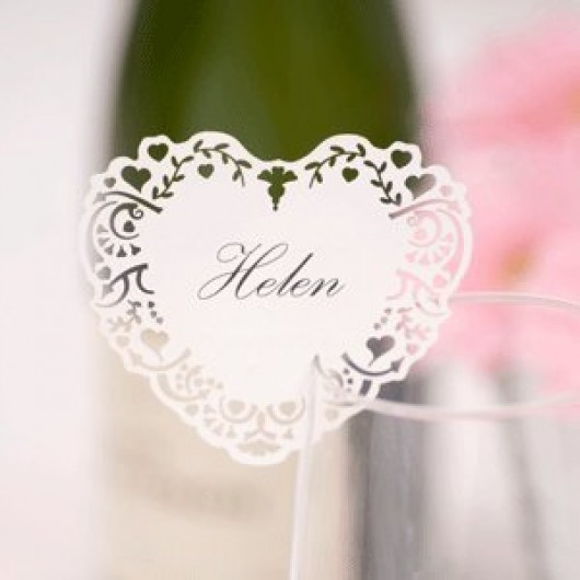 Vintage Romance - Laser Cut Place Card For Glass