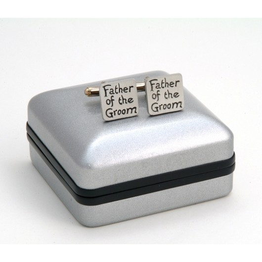 "Pewter ""Father of the Groom"" Wedding Cufflinks"