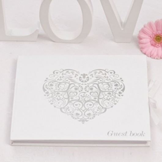 Joint Wedding Gifts For Parents : Our stylish white and silver guest book is a part of the Vintage ...