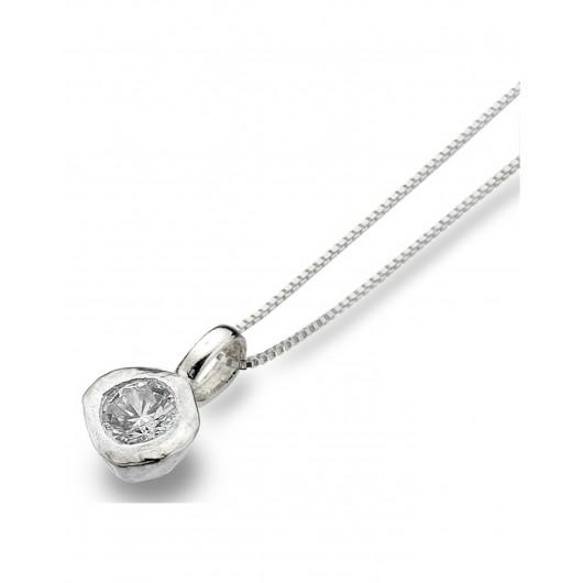 Sea Gems Solid Silver Cubic Zirconia Pendant