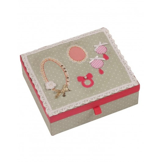 Button Girl Embellished Jewellery Box Spotty Green Bombay Duck