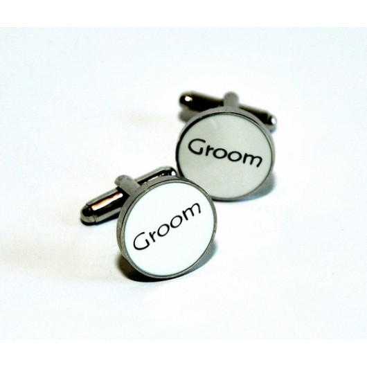 White Enamel Groom Cufflinks