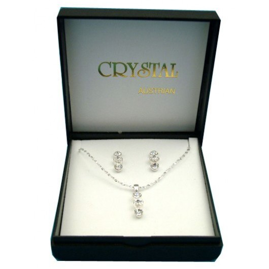 Gorgeous Crystal Drop Necklace And Earring Box Set