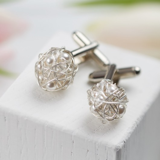 Twisted Cufflinks with Pearls