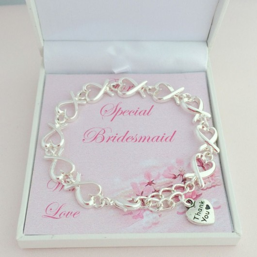 Silver Hearts Thank You Bracelet