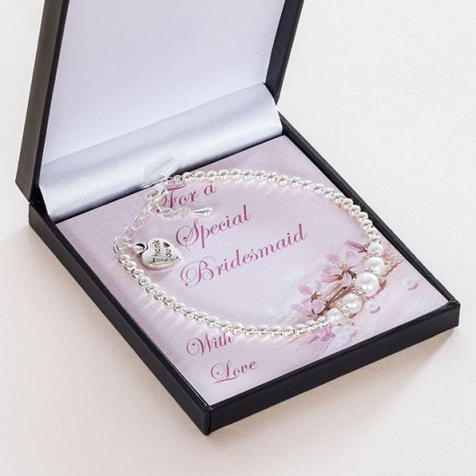 Bridesmaid / Flower Girl Thank You Charm Bracelet