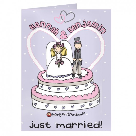 Personalised Bang On The Door Just Married Card