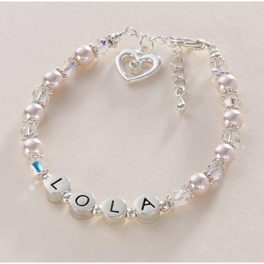 Crystal & Pearl Name Bracelet