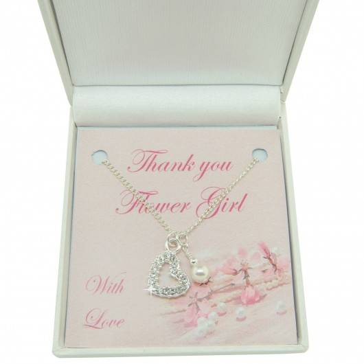 Crystal Heart & Pearl Thank You Necklace