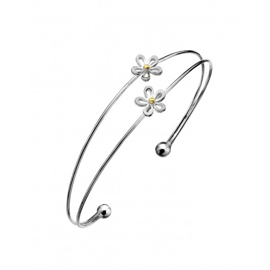 Sea Gems Sterling Silver Double Cuff Daisy Bangle