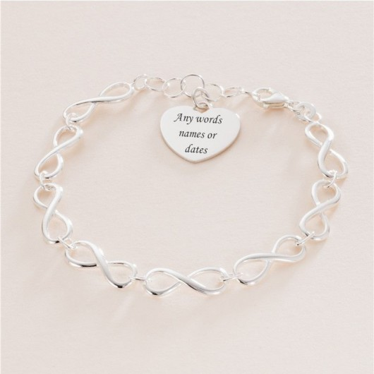 Silver Infinity Bracelet With Engraved Heart