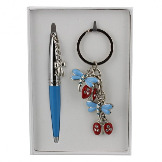 Sophia Gift Set (Keyring & Pen w/ Charm)