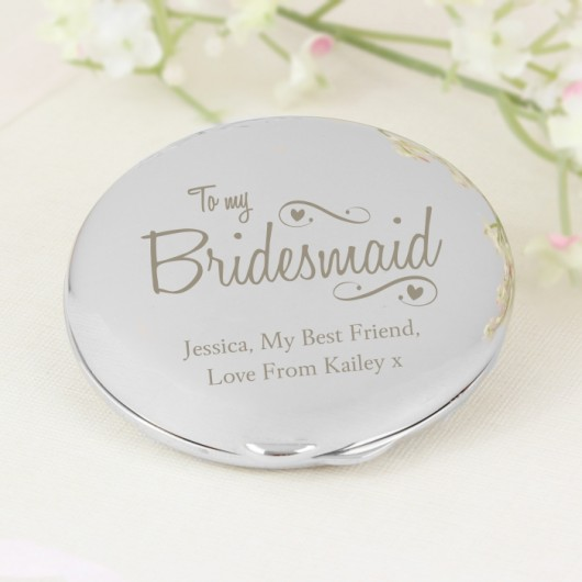 Swirls & Hearts Bridesmaid Compact Mirror - Personalised