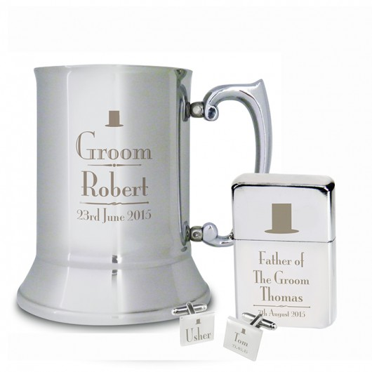 Decorative Wedding Stainless Steel Tankard, Lighter And Cufflinks Set