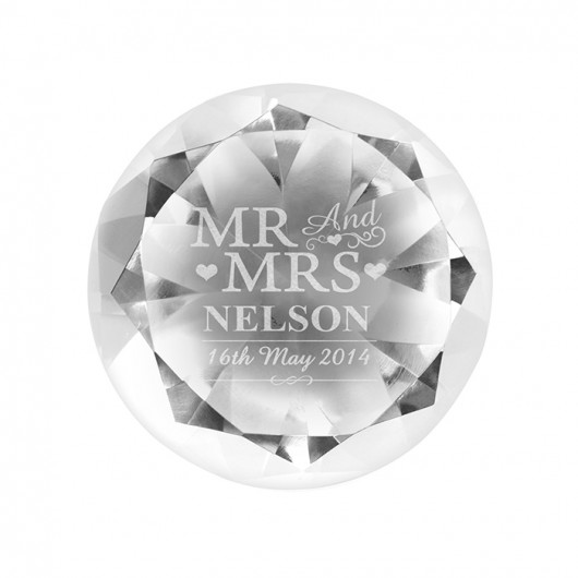 Personalised Mr & Mrs Paperweight Diamond
