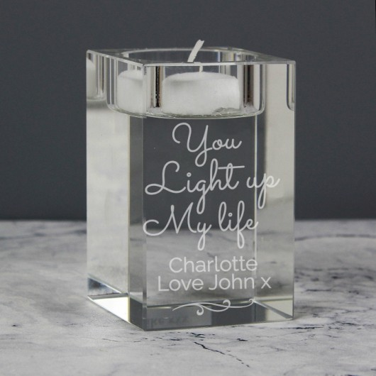 Personalised 'You Light Up My Life' Glass Tea Light Holder