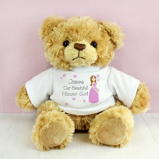 Personalised Beautiful Flower Girl Message Bear