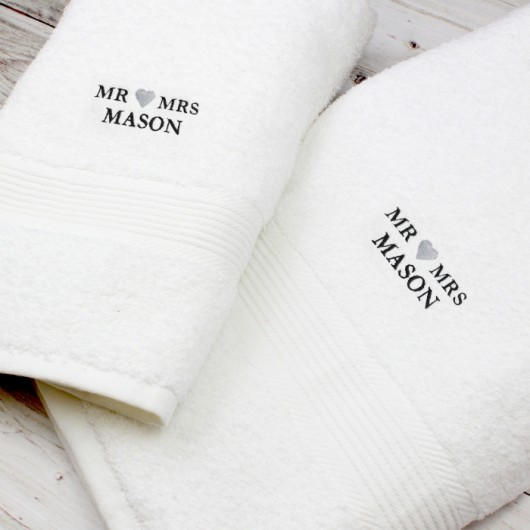 Mr & Mrs Personalised White Hand and Bath Towel Set
