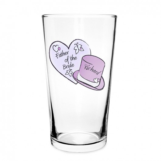 Personalised Hearts & Top Hat Wedding Pilsner Glass