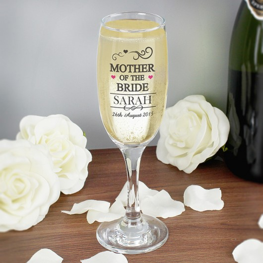 Personalised Mother of the Bride Glass Flute