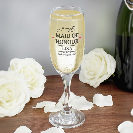 Personalised Maid of Honour Glass Flute